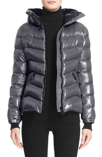 Moncler Anthia Water Resistant Shiny Nylon Hooded Down Puffer Jacket