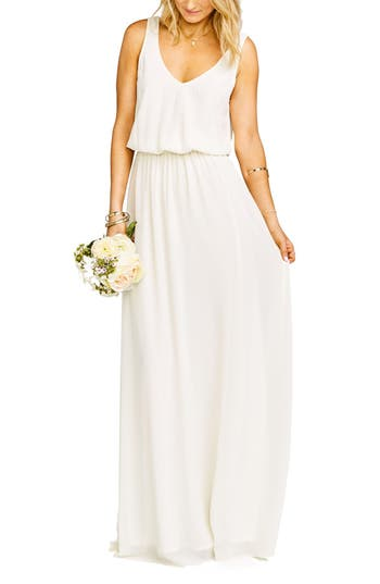 Show Me Your Mumu Kendall Soft V-Back A-Line Gown, White