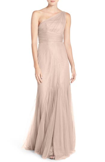 Monique Lhuillier Bridesmaids One-Shoulder Tulle Trumpet Gown