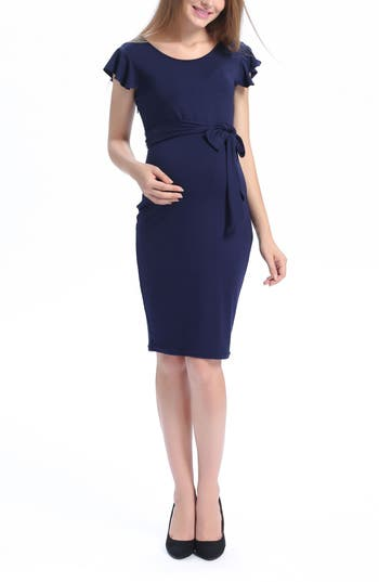Kimi And Kai Lucile Ruffle Sleeve Maternity Dress, Blue
