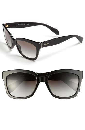 Women's Prada Timeless 56Mm Square Sunglasses - Black