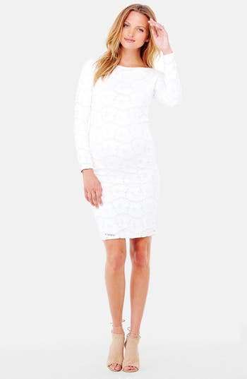 Ingrid & Isabel Lace Maternity Dress, White