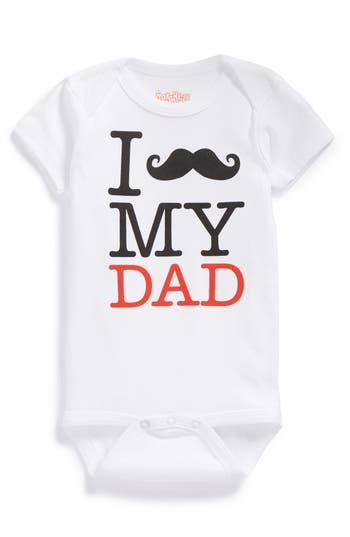 Infant Boy's Sara Kety Baby & Kids 'Mustache My Dad' Bodysuit