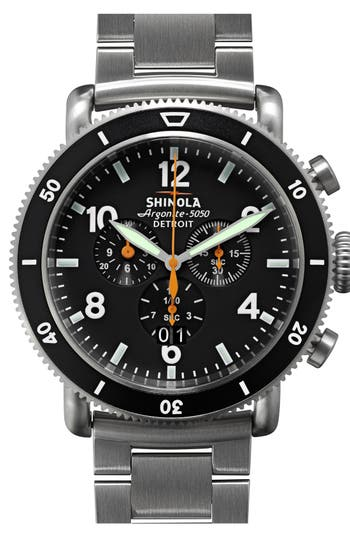 Shinola 'The Black Blizzard' Chronograph Interchangeable Strap Watch, 48mm
