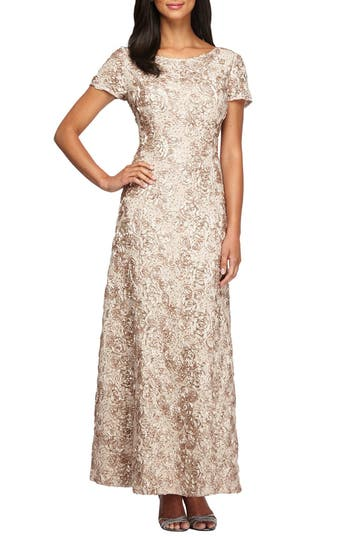 Alex Evenings Embellished Lace Gown, Beige