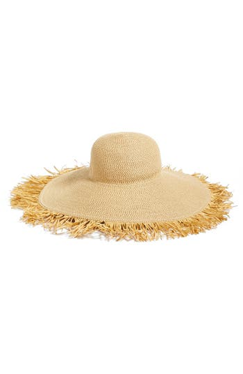 Women's Eric Javits Fringed Squishee Packable Floppy Hat - Beige