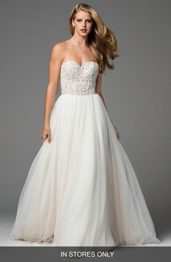 Watters Rosina Embellished Strapless Lace & Tulle A-Line Gown