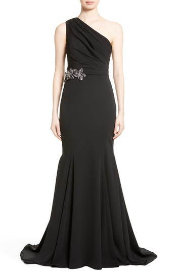Badgley Mischka Couture Odessa Embellished One-Shoulder Gown