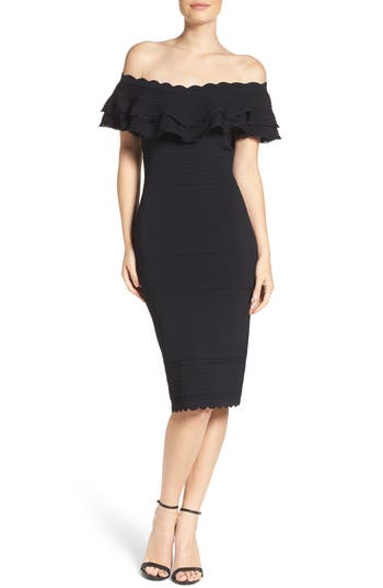 Eliza J Off the Shoulder Ruffle Sheath Dress