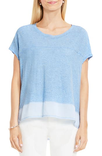 Two By Vince Camuto Mixed Media Step Hem Tee