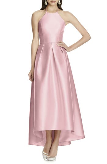 Alfred Sung High/low Hem Sateen Halter Dress