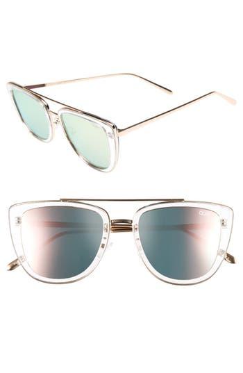 Quay Australia French Kiss 55Mm Cat Eye Sunglasses - Clear/ Rose