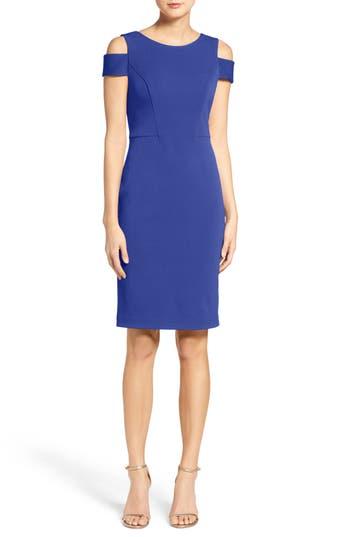 Vince Camuto Cold Shoulder Crepe Sheath Dress, Blue