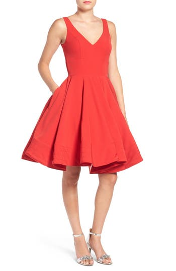 Ieena For MAC Duggal Double V-Neck Fit & Flare Party Dress, Red