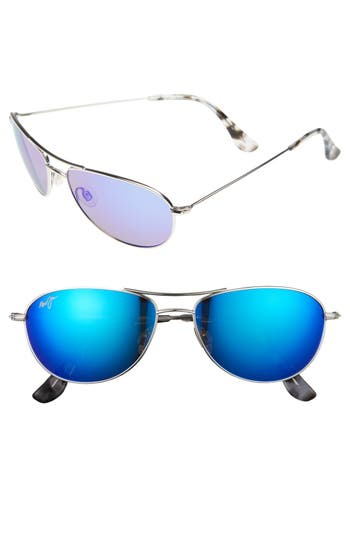 Maui Jim Baby Beach 5m Polarizedplus2 Aviator Sunglasses - Silver/ Blue Hawaii