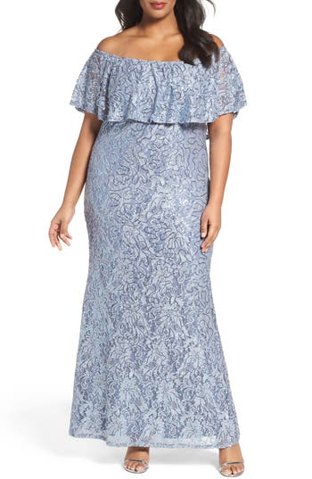 Plus Size Marina Off The Shoulder Ruffle Sequin Lace Gown, Blue