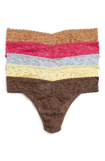 Women's Hanky Panky 5-Pack Original Rise Thong, Size One Size - Ivory