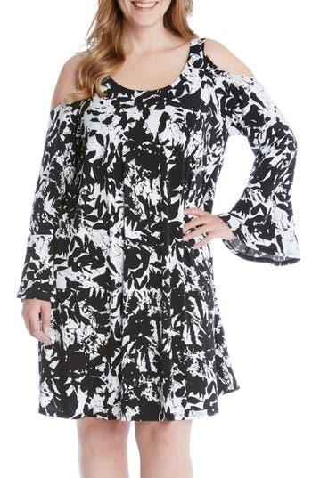 Plus Size Karen Kane Cold Shoulder Bell Sleeve Dress