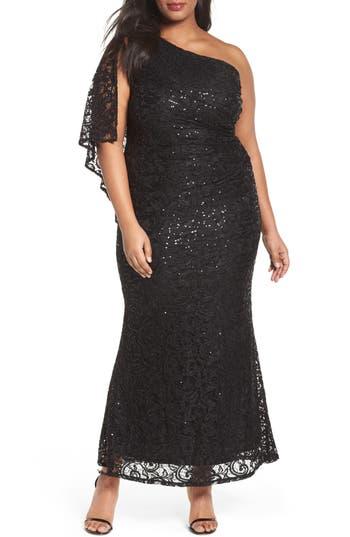 Plus Size Marina Sequin Lace One-Shoulder Gown