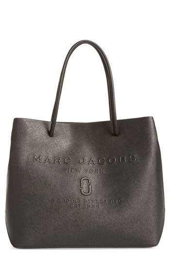 marc jacobs female marc jacobs logo leather shopper black