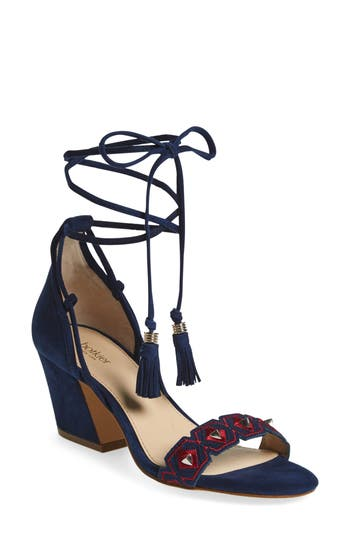 Women's Botkier Penelope Embroidered Ankle Wrap Sandal, Size 6 M - Blue