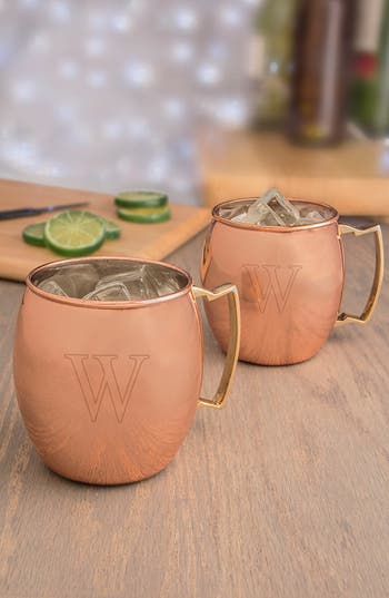 Cathy's Concepts Monogram Moscow Mule Copper Mugs, Size One Size - Brown