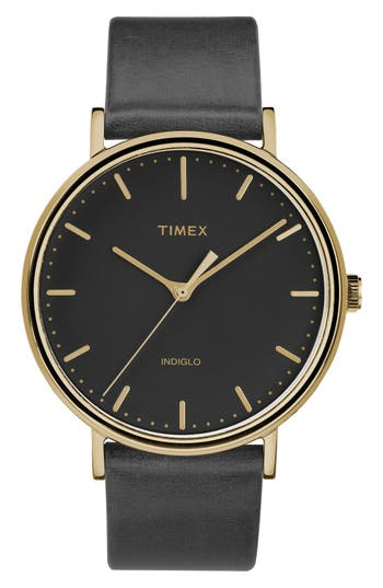 Timex Fairfield Leather Strap Watch, 41Mm
