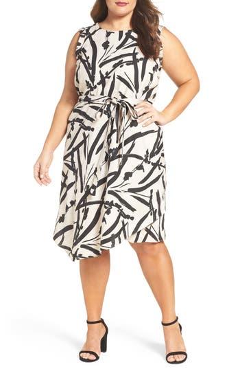 Plus Size Foxcroft Brushstroke Floral A-Line Linen Dress, Beige