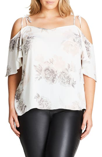 Plus Size Women's City Chic Whimsy Floral Top