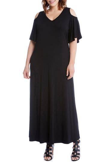 Plus Size Karen Kane Cold Shoulder A-Line Maxi Dress, Black
