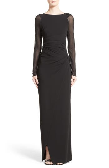 Talbot Runhof Sheer Sleeve Jersey Column Gown, Black