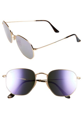 Women's Ray-Ban 54Mm Hexagonal Flat Lens Sunglasses - Gold/ Purple
