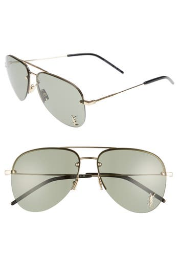 Saint Laurent 5m Aviator Sunglasses - Gold