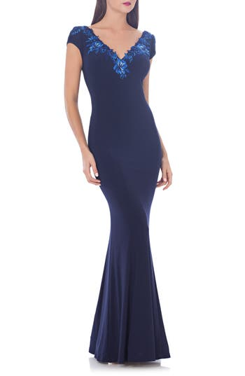 Js Collections Jersey Mermaid Gown, Blue