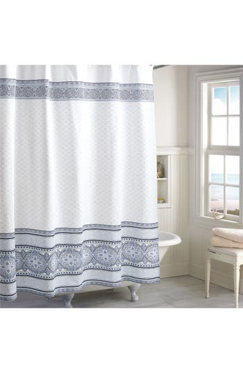 Peri Home Medallion Border Shower Curtain, Size One Size - Blue