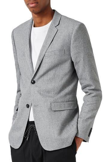 Topman Crossweave Texture Skinny Fit Sport Coat, Grey