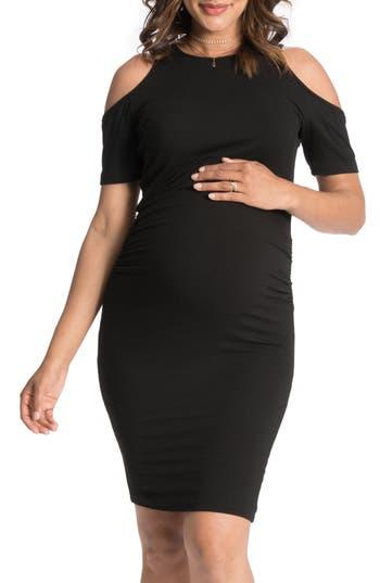 Bun Maternity Cold-Shoulder Maternity Dress, Black