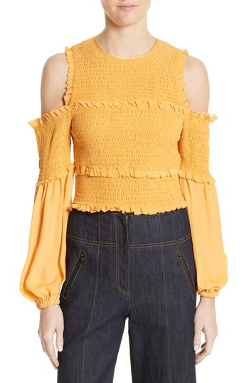 Women's Cinq A Sept Pascal Silk Cold Shoulder Top, Size X-Small - Yellow