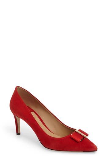 Salvatore Ferragamo Ornament Bow Pointed Toe Pump, Red