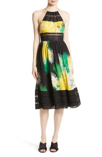 Tracy Reese Lace Inset Halter Dress, Yellow