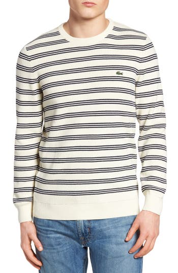 Men's Lacoste Waffle Stitch Stripe Sweater, Size 9(4xl) - Grey