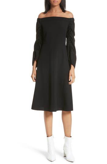 Tibi Off The Shoulder Midi Dress, Black