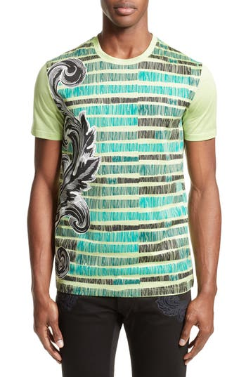 Versace Collection Sketch Baroque T-Shirt, Green
