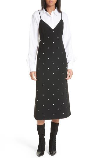 Women's Tibi Neve Embellished Slipdress, Size 0 - Black