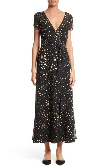 Women's Red Valentino Lame Star Wrap Maxi Dress, Size 6 US / 44 IT - Black