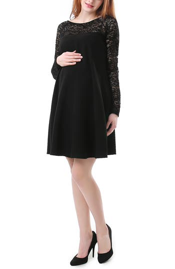 Kimi And Kai Elle Lace Trim Maternity Dress