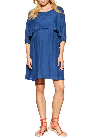 Maternal America Ruffle Overlay Maternity/nursing Dress, Blue