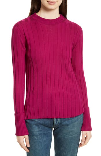Theory Wide Ribbed Mock Neck Wool Sweater, Size Petite - Pink