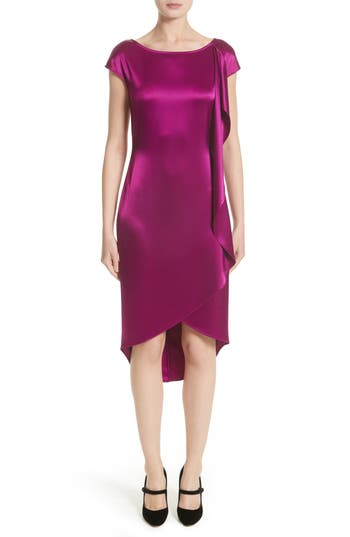 St. John Collection Liquid Satin Dress, Purple