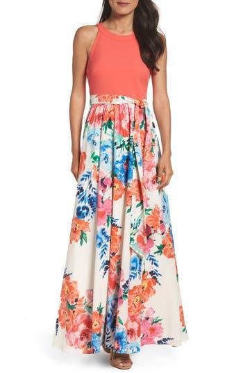 Women's Eliza J Crepe Maxi Dress, Size 4 - Orange